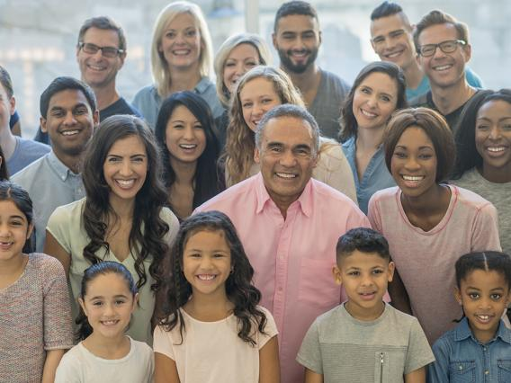 Group of diverse people in age and ethnicity